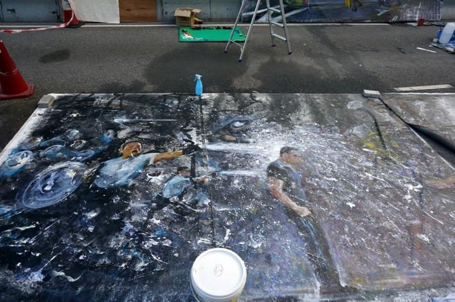 peinture mouvement des parapluies a hong kong