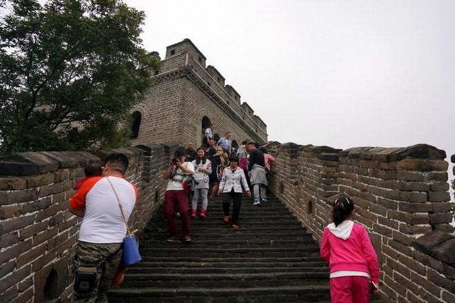 touriste sur la grande muraille de chine