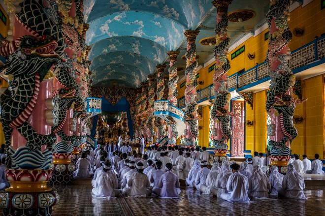ceremonie Temple de Cao Dai Tay Ninh